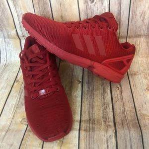 Red Adidas ZX Flux Tubular Sneakers